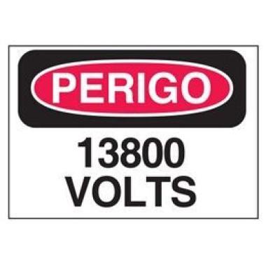 Etiqueta de Perigo - 13800 Volts