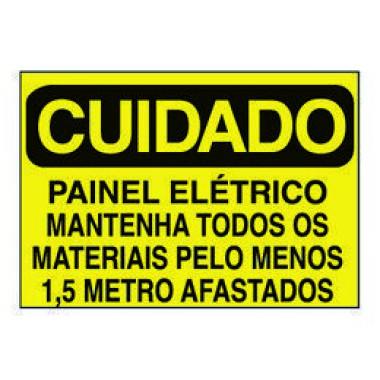 Etiqueta de Cuidado - Painel Elétrico Mantenha Todos os Materiais Pelo Menos 1,5 Metro Afastados