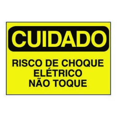 Etiqueta de Cuidado - Risco de Choque Elétrico Não Toque