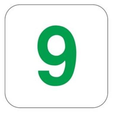 Placa Número 9 Pictograma Preto