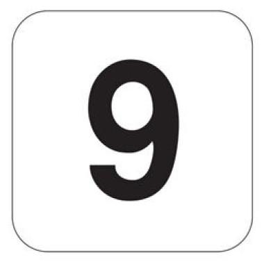 Placa Número 9 Pictograma Azul