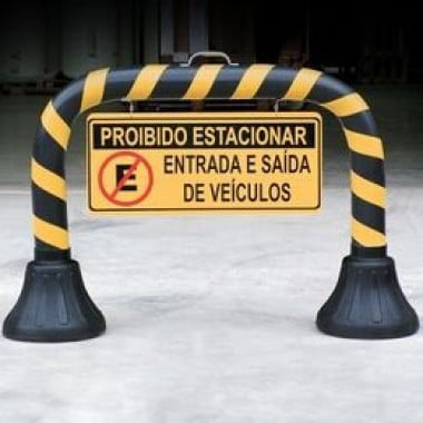 Cavalete de Sinalização com Placa - Proibido Estacionar-Carga e Descarga
