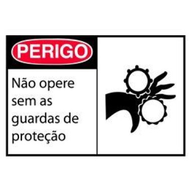 Etiqueta de Perigo - Não Opere Sem as Guardas de Proteção