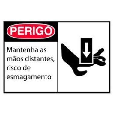 Etiqueta de Perigo - Mantenha as Mãos Distantes, Risco de Esmagamento