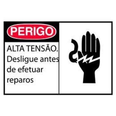 Etiqueta de Perigo - Alta Tensão. Desligue Antes de Efetuar Reparos