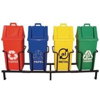 Coletor de lixo para coleta seletiva com tampa basculante
