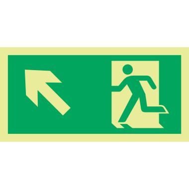 Placa fotoluminescente símbolo saída seta esquerda/cima