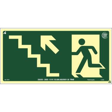 Placa fotoluminescente símbolo saída escada esquerda/cima