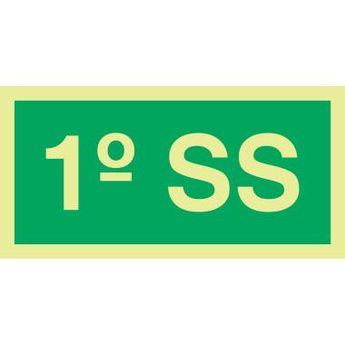 Placa Fotoluminescente de Sinalização para Identificação do Número do Pavimento - 1° SS - 10 x 20 cm - PVC 2 mm