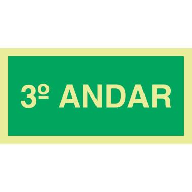 Placa Fotoluminescente de Sinalização para Identificação do Número do Pavimento - 3º ANDAR - 10 x 20 cm - PVC 2 mm