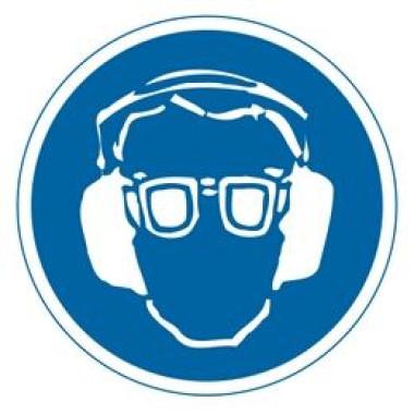 Etiqueta de Proteção Para os Olhos e Ouvidos