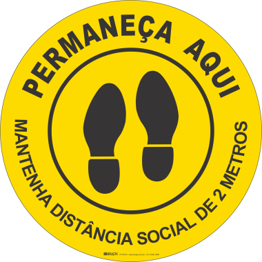 Marcador de Piso - Mantenha Distância Social - Amarelo