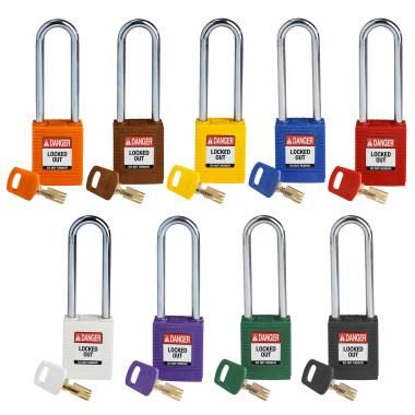 "Cadeados de Plástico Hastes de Aço | 76mm (3"") | Segredos Diferenciados | SafeKey"
