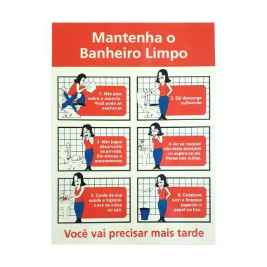 Placa De Banheiro - Mantenha o Banheiro Limpo (Feminino)