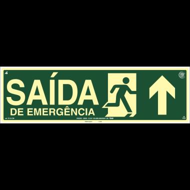 Placa Fotoluminescente de Sinalização de Rota de Fuga - Saída Emergência à Frente com Pictograma - 15x50cm - PVC 2mm