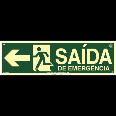 Placa Fotoluminescente de Sinalização de Rota de Fuga - Saída Emergência à Esquerda com Pictograma - 15x50cm - PVC2mm
