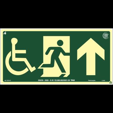 Placa fotoluminescente cadeirante saída de emergência à frente