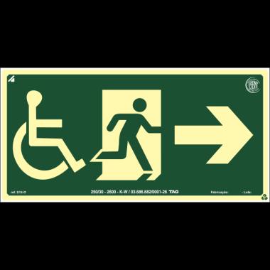 Placa fotoluminescente cadeirante saída de emergência à direita