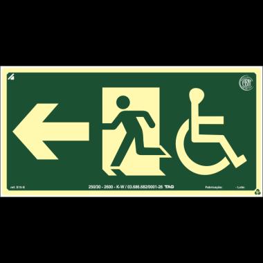 Placa Fotoluminescente de Sinalização de Rota de Fuga - Cadeirante Saída de Emergência à Esquerda com Pictograma - 15 x 30 cm - PVC 2 mm