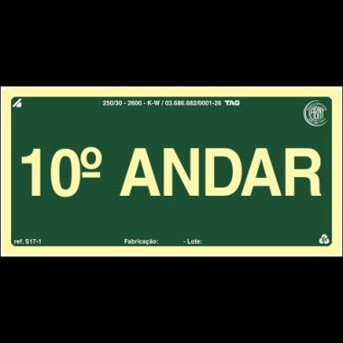 Placa Fotoluminescente de Sinalização para Identificação de Pavimento - 10º Andar - 10 x 20 cm - PVC 2 mm