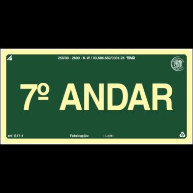 Placa Fotoluminescente de Sinalização para Identificação de Pavimento - 7º Andar - 10 x 20 cm - PVC 2 mm