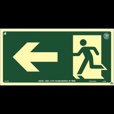 Placa fotoluminescente saída à esquerda