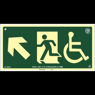 Placa fotoluminescente cadeirante saída de emergência subida à esquerda