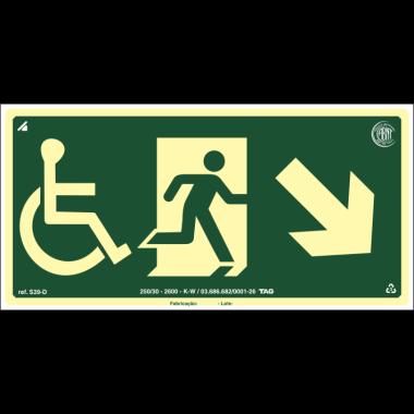 Placa fotoluminescente cadeirante saída de emergência descida à direita