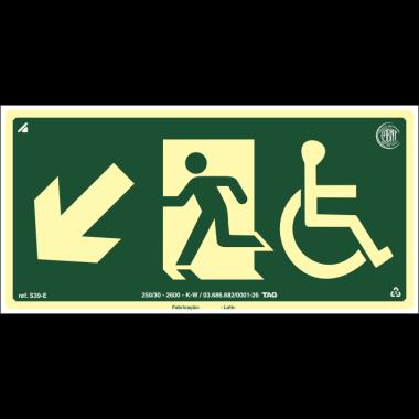 Placa Fotoluminescente de Sinalização de Rota de Fuga - Cadeirante Saída de Emergência Descida à Esquerda - 15 x 30 cm - PVC 2 mm