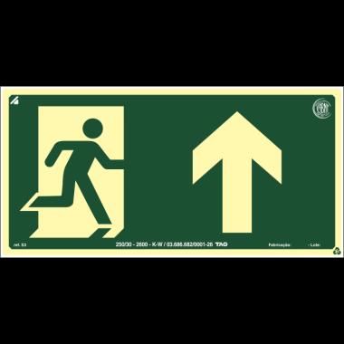 Placa fotoluminescente símbolo saída seta cima