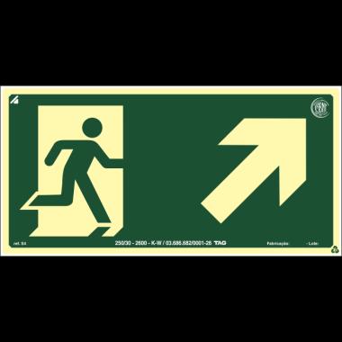 Placa fotoluminescente símbolo saída seta direita/cima