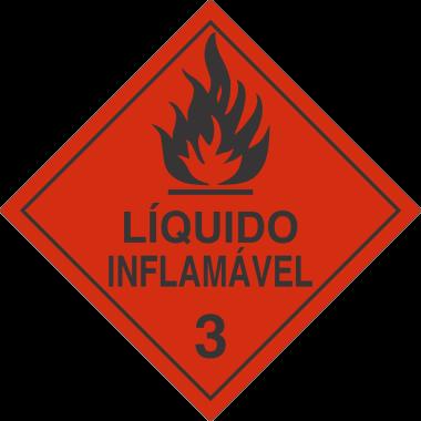 Rolo de Etiquetas de Simbologia de Risco - Líquido Inflamável 3